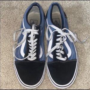 Blue and White Van's Sneakers